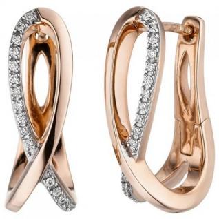 Creolen 585 Gold Rotgold 34 Diamanten Brillanten Ohrringe