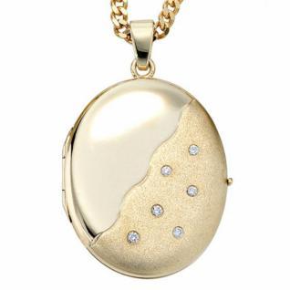 Medaillon oval 585 Gelbgold mattiert 6 Diamanten zum Öffnen