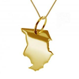 TSCHAD Kettenanhänger aus 585 Gelbgold mit Halskette