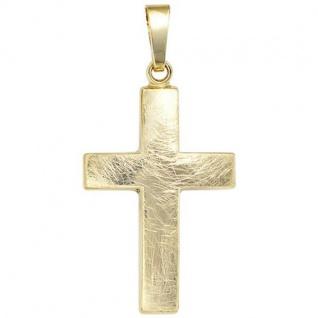 Anhänger Kreuz 333 Gold Gelbgold eismatt Kreuz Anhänger Goldkreuz