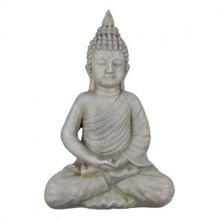 Thai Buddha Deko-Figur-Garten Gartenskulptur Statue Japanische-Gartendeko Gartenfigur Buddhistische Figur Wohnaccessoire grau 18x30x44cm