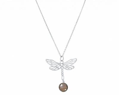 Damen Halskette Anhänger 925 Silber LIBELLE Rauchquarz Braun 45 cm