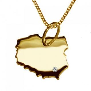 POLEN Kettenanhänger mit Brillant aus 585 Gelbgold mit Halskette