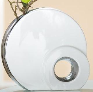 Vase mit Loch in Weiß und Silber aus Keramik, 6, 8 x 25 x 24 cm