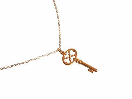Gemshine Damen Halskette Anhänger Schlüssel KEY Vergoldet 3, 5 cm