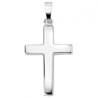 Anhänger Kreuz schlicht 585 Weißgold Kreuz Anhänger Weißgoldkreuz