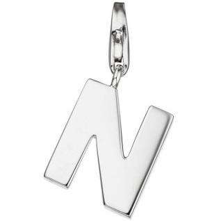 Einhänger Buchstabe N 925 Sterling Silber Anhänger für Bettelarmband