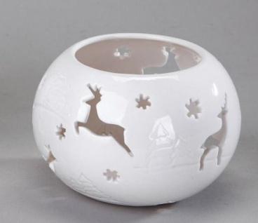 Windlicht Kugel klassisch weiß mit Hirschen, 10 cm