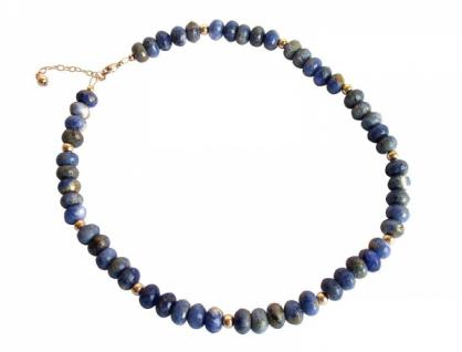 Gemshine Damen Halskette Vergoldet Lapislazuli Facettiert Blau 45 cm