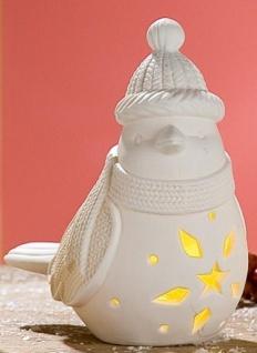 GILDE Wintervogel als Windlicht mit LED Beleuchtung, weiß, 14, 8 cm