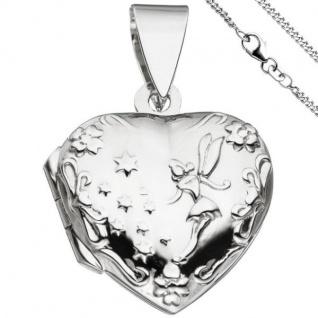 Medaillon Herz Anhänger zum Öffnen für 2 Fotos 925 Silber mit Kette 42 cm