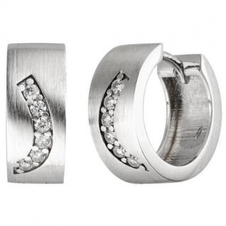 Creolen 925 Silber matt 12 Zirkonia Ohrringe Silbercreolen Silberohrringe