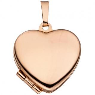 Medaillon Herz für 2 Fotos, 925 Silber rotgold vergoldet zum Öffnen