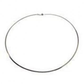 45 cm Omega Halsreif - 585 Weißgold - 0, 8 mm Halskette