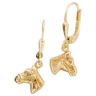 Kinder Boutons Pferdeköpfe Pferde 333 Gold Gelbgold Ohrringe