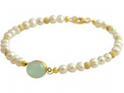 Gemshine Damen Armband Perlen Vergoldet Chalcedon MeeresGrün 18 cm