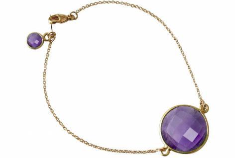 Armband Vergoldet Amethyst Lila Violett Facettiert 19 cm