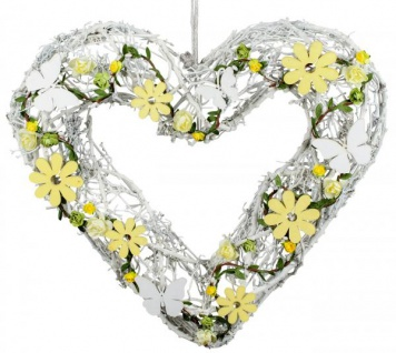 Rattan Herz Tischdeko weiß gelb Herbst Winter 42 cm