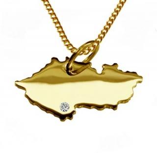 TSCHECHIEN Kettenanhänger mit Brillant aus 585 Gelbgold mit Halskette