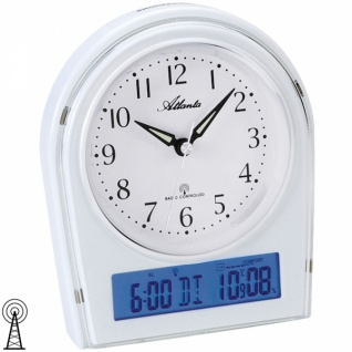 Atlanta 1827/0 Wecker Funk weiß mit Licht Snooze Thermometer Datum