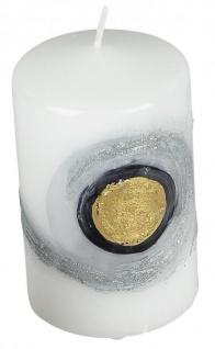Stumpenkerze zeitlose Qualitätskerze weiß gold silber 7 x 11 cm rund