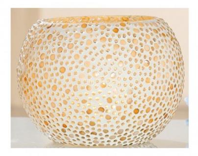 GILDE Teelichthalter Concha aus Glas im Mosaik Stil, 16 x 12 cm