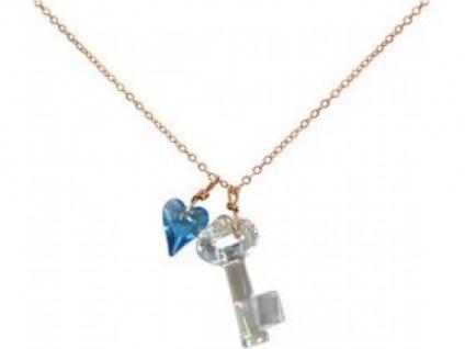 Halskette Anhänger Rose vergoldet Schlüssel SWAROVSKI ELEMENTS®