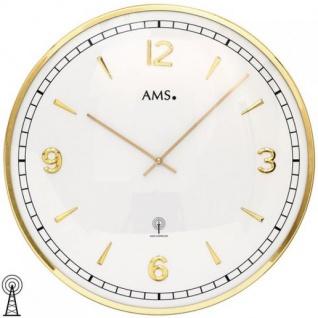 AMS 5609 Wanduhr Funk analog golden rund