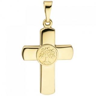 Anhänger Kreuz Lebensbaum 333 Gold Gelbgold teil matt Goldkreuz