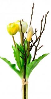 Künstliche Tulpen als Bund 5 Stück mit Zweigen gelb weiß 42 cm
