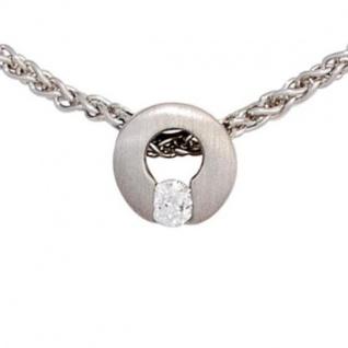 Anhänger rund 585 Gold Weißgold matt 1 Diamant Brillant 0, 06ct.