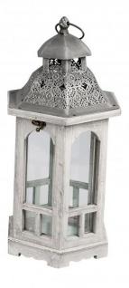 Deko-Laterne aus Holz Vintage Antik grau silber Rustikal sechseckig 24 x 20 x 45 cm