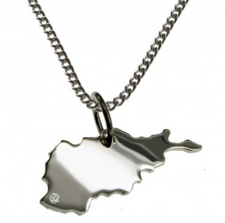 AFGHANISTAN Anhänger, Silber mit Brillant am Wunschort, Halskette
