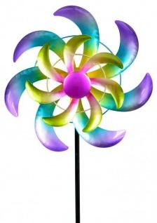 Windrad für den Garten aus Metall Fächer lila/grün 110 cm