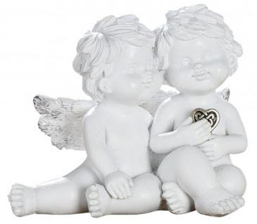 Schutz Engel Figur kleines Paar mit silbernem Herz Antik Weiß 6 cm