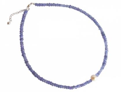 Tansaniten und Zuchtperle Halskette
