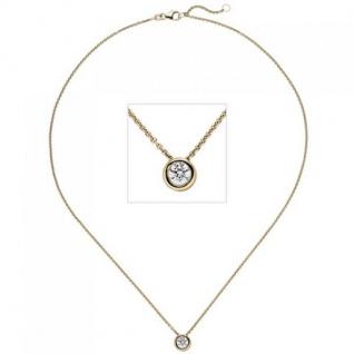 Collier Kette mit Anhänger 585 Gelbgold 1 Diamant Brillant 0, 50 ct. 45 cm