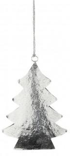 Fensterhänger Tannen-Baum Metall zum hängen Fenster-Deko Türdeko Hängedeko gehämmert silber 17x17cm groß