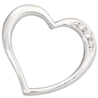 Anhänger Herz 585 Weißgold 3 Diamanten Brillanten 0, 03 ct.