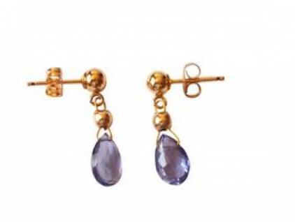Gemshine Damen Iolithen Ohrringe Tropfen Lila Blau Vergoldet 1, 5 cm