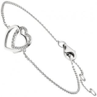 Armband Herz Herzen 925 Sterling Silber 21 Zirkonia 18 cm