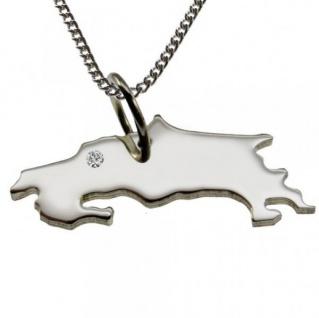 COSTA RICA Anhänger 925 Silber mit Brillant am Wunschort, Halskette