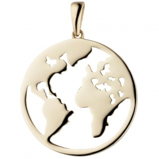 Anhänger Weltkarte 333 Gold Gelbgold