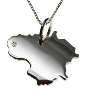LITAUEN Anhänger 925 Silber mit Brillant am Wunschort mit Halskette