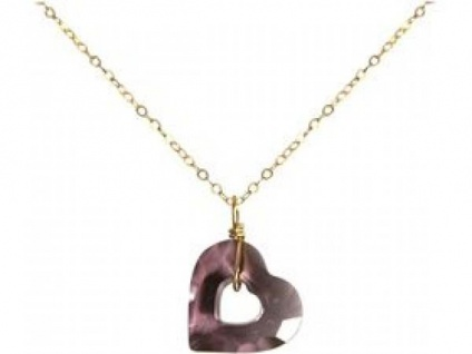 Halskette Anhänger vergoldet Herz Lila SWAROVSKI ELEMENTS® 45 cm