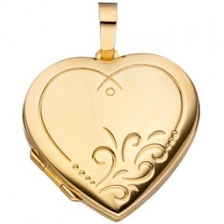 Medaillon Herz 925 Sterling Silber vergoldet
