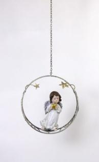 Weihnachtliche Hängedeko Engel im Sternenring mit goldenem Herz