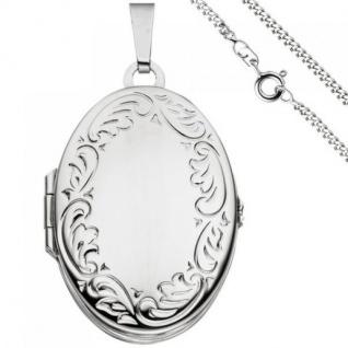 Medaillon oval zum Öffnen für 4 Fotos 925 Silber mit Kette 50 cm