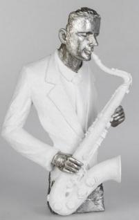 formano Skulptur Musiker mit Saxophon in Weiß Silber, 28 x 43 cm