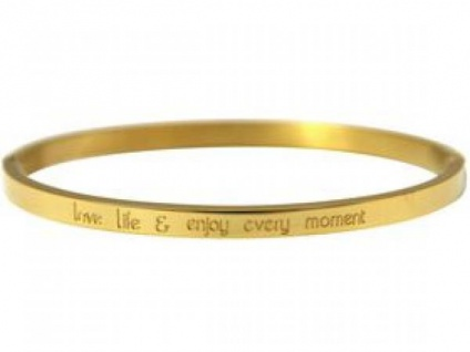 Armreif Gravur Love life and enjoy every Moment WISHES Gold 4 mm